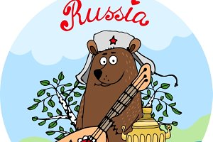 Russian bear with a balalaika