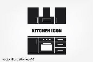 drawing kitchen interior plan icon