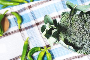 Raw green fresh broccoli vegetable on napkin