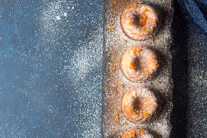 Donuts with icing sugar