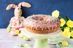 Easter cake with sugar frosting decorations eggs bunny