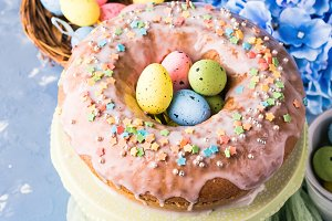Easter sweet cake with sugar frosting and holiday decor