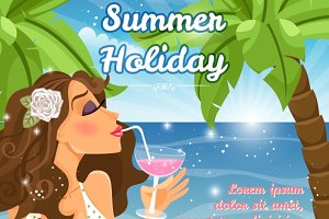 Holiday poster with woman