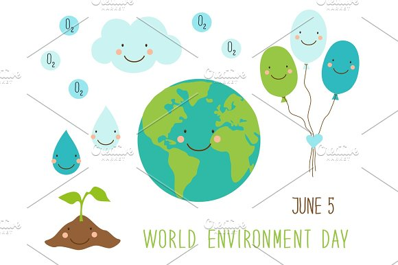 Cute Hand Drawn World Environment Day Card With Smiling Character Of The Planet Earth