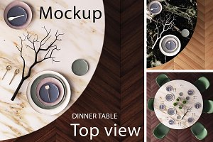Mockup of a dining table. Top view.