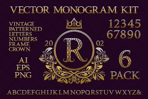 Vintage monogram kit pack 6