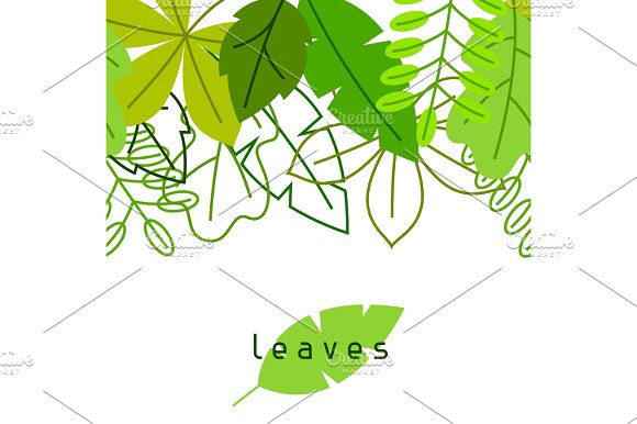 Seamless Floral Border With Stylized Green Leaves Spring Or Summer Foliage