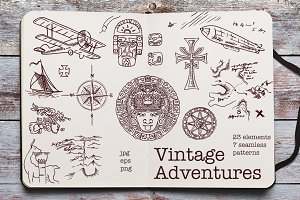 Vintage Adventures. Vector Set.