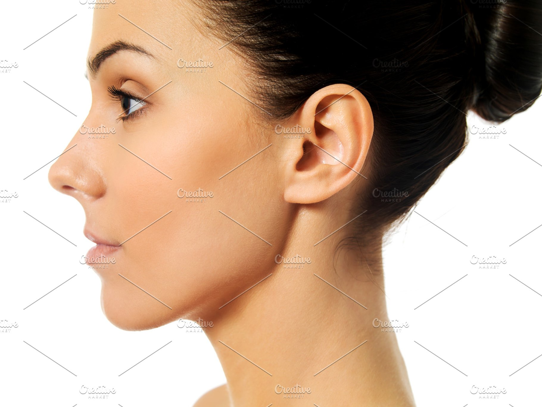 Side view of young woman face | High-Quality People Images ...