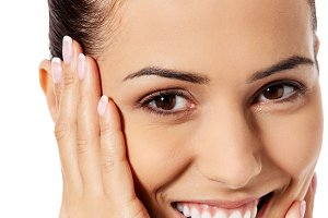 Beautiful face of young woman with clean fresh skin.