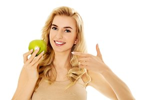 Young happy woman eating fresh green apple