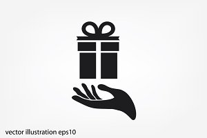 gift and hand icon