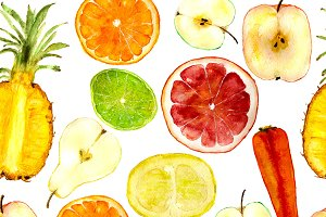 Fruits seamless pattern, watercolor