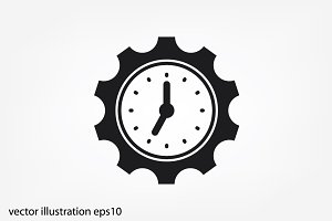 Gear clock time icon