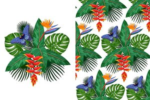 Tropical Bouquet + Seamless Pattern
