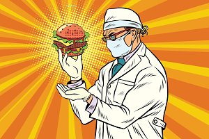 Scientist nutritionist and Burger fast food