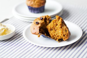 Homemade Pumpkin Raisin Muffins