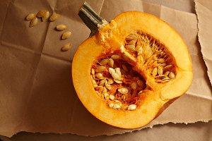 Fresh Pumpkin cut open