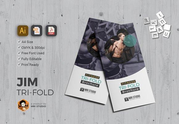Simple GYM TriFold Brochure Brochure Templates Creative Market - Simple tri fold brochure template