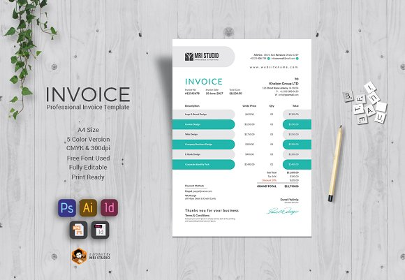 Professional Invoice Template Stationery Templates Creative Market - Professional invoice templates