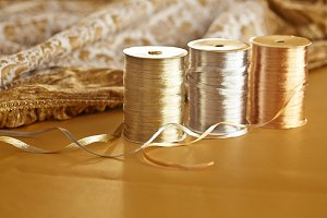 Gold Silver Christmas Raffia Ribbon