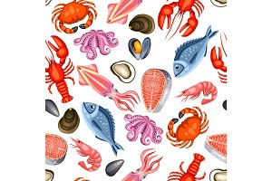 Seamless pattern with various seafood. Illustration of fish, shellfish and crustaceans