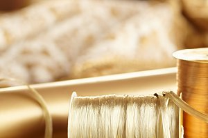 Gold Raffia Christmas ribbon