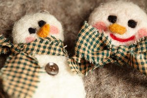 Snowman felted holiday ornaments