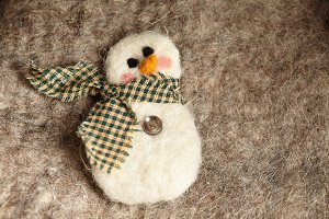 Felted Snowman Christmas Ornament