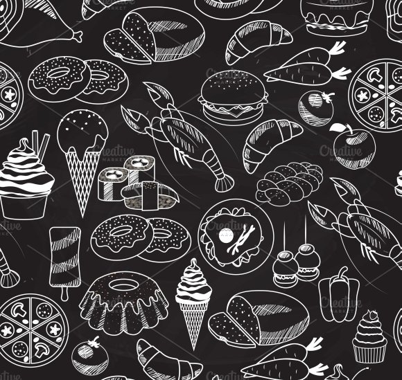 Seamless Food On Chalkboard Graphic Patterns Creative