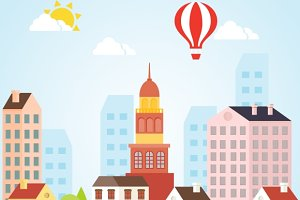 Seamless Vector Sunny Town Landscape
