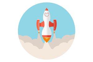 Startup space rocket flat