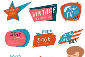 Vintage Style Retro Badges & Emblems