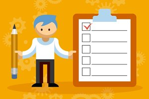 Businessman Character with Checklist