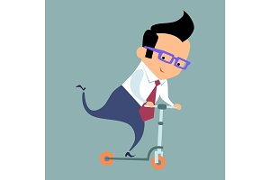 Businessman riding a scooter