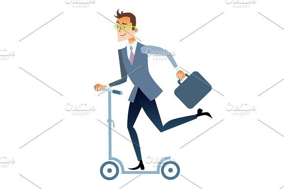 Businessman Scooter Rides To Work