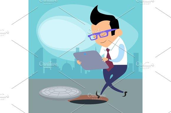 Danger Tablet Businessman Open Hatch Road Works New Technologies