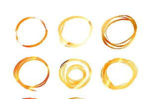 Golden hand drawn scribble circles