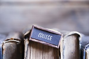 College tag and old retro books