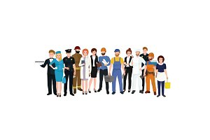 Group of People different profession. Man and woman vector illustration