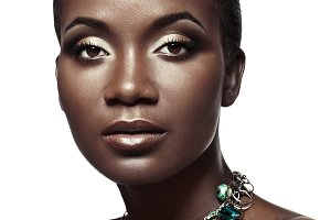 Beauty portrait of black skin girl