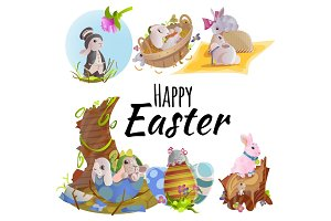 Set of easter chocolate egg hunt bunny basket on green grass decorated flowers, rabbit funny ears, happy spring holiday tradition greeting card or banner collection vector illustration background1