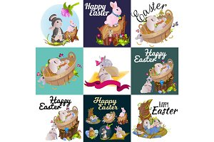 Set of easter chocolate egg hunt bunny basket on green grass decorated flowers, rabbit funny ears, happy spring season holiday tradition greeting card banner collection vector illustration background