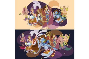 Set of isolated Indian Gods meditation in yoga poses lotus and Goddess hinduism religion, traditional asian culture spiritual mythology, deity worship festival vector illustrations, T-shirt concepts