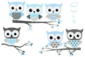 Cute blue and grey owls clip art set