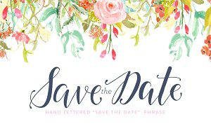 Hand Lettered Save the Date Phrase