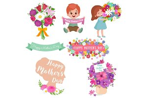 Baby girl and boy with bouquet of flowers Happy Mothers Day greeting card