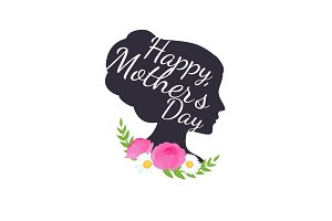Vector illustraion greeting cart Happy Mothers Day lettering woman