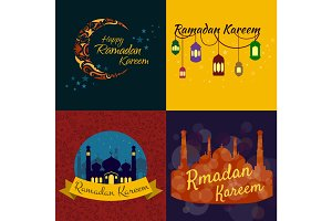Happy Ramadan Kareem, greeting background vector illustration set