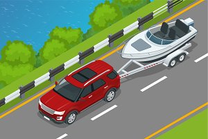 The SUV drives a motor boat along the road along the sea. Summer vacation on the sea and motor boat rides. Vector isometric icon or infographic element